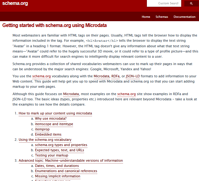 Официалный сайт микроразметки SHEMA.ORG