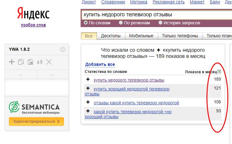Примеры низкочастотных поисковых запросов