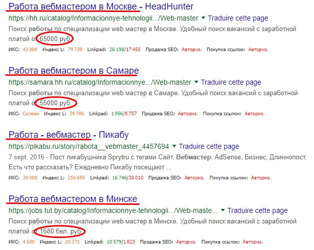 Сайты с предложением работы для вебмастеров.